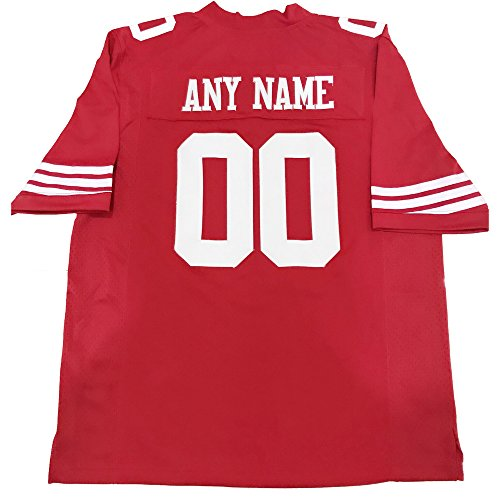 Custom Replica/Practice Football Jersey (Unisex, Youth/Adult) - Add Your Team, Name, and Number (SF 49er)