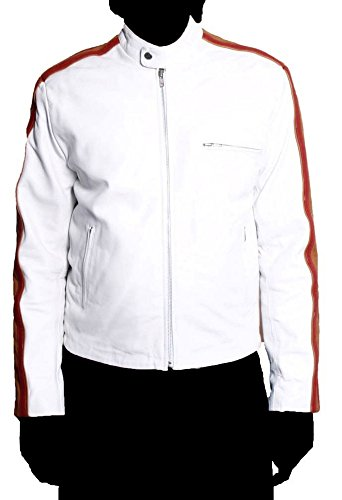 HLS Men's Jones Soft Faux white Leather Jacket