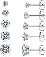 5 Pairs Stud Earrings Set, Hypoallergenic Cubic Zirconia 316L Earrings Stainless Steel CZ Earrings 3-8mm, Rose