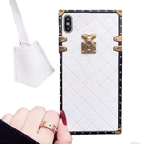 Compatible for iPhone Xs Max 6.5 Case,BabeMall Elegant Diamond Luxury Metal Corner Square PU Leather Classic TPU Bumper Slim Anti-Scratch Case & Lanyard (Small Cube/White, for iPhone Xs Max 6.5)