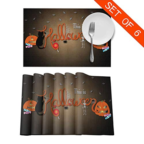 Not So Scary Halloween Party Map (Modern Placemats Easy to Clean, This is Halloween Pumpkin Ghost Bat Candy Painting Place Pad for Home Everyday, Insulation Non-Slip Durable Table Mats 12x18 Inch Set of)
