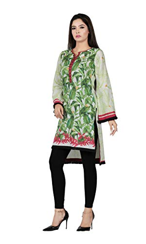 - Fresh Green Leaf Print with Wooden Beads with Contrast Stitch at Placket Digital Printed Kurti Ready to wear