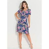 22f561c34 Vestido Feminino Plus Size Floral Azul com Decote Redondo