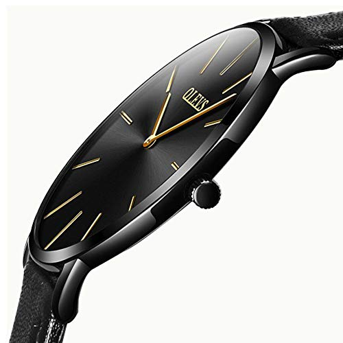 Ultra Thin Watches for Men,Black Slim Watch,Classic Analog Quartz Fashion Dress Wrist Watch and Milanese Mesh Band or Leather Strap,30M Waterproof Watch with Alloy Case Japanese Quartz Movement Dress Black Dial Mesh Band