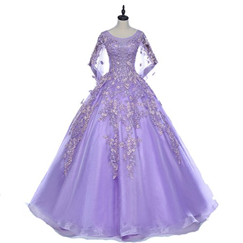 Color Wedding Dress Purple Illusion Lace Up Crystal Luxury Puff Sleeves Sexy Bling Bride Gowns (16, purple)