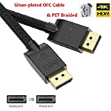Displayport Cable 10ft, BIFALE DP Cable Silver-Plated OFC Conductor DisplayPort to DisplayPort Cable PET Braided DP to DP Cable 4K@60Hz, 2K@144Hz/165Hz for PC Laptop TV
