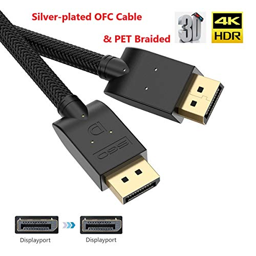 Displayport Cable 10ft Bifale Dp Cable Silver Plated Ofc Conductor Displayport To Displayport Cable Pet Braided Dp To Dp Cable 4k 60hz 2k 144hz 165hz For Pc Laptop Tv