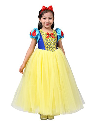 Dressy Daisy Girls Princess Snow White Dress Up Costumes w/Headband Halloween Fancy Dress Size 5/6 ()