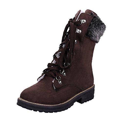 Carolbar Womens Lace Up Warm Comfort Faux Fur Low Heel Winter Boots Deep Brown NIn2UXD