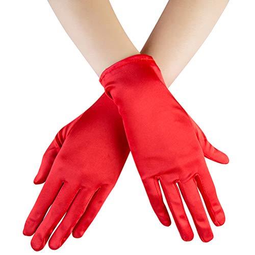 Xuhan Short Banquet Opera Satin Gloves for Women Wrist Length (Red)