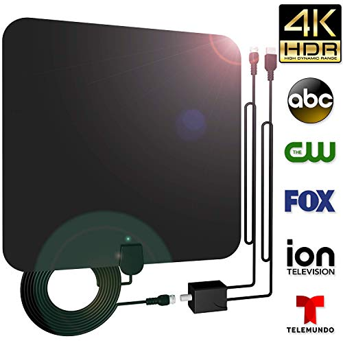 80Miles Indoor Amplified TV Antenna - Vintv Upgraded Digital HDTV Antenna with Detachable Amplifier Channels Booster Free TV for 1080P VHF UHF High Reception with 10Ft Cable by VinTV
