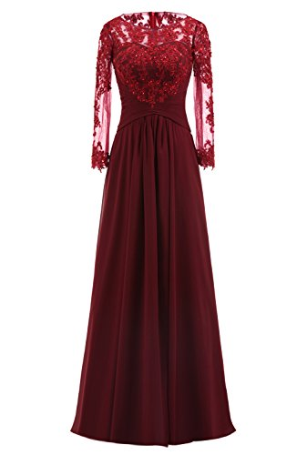 Damen Cocktail A Kleid Party Brautjungfer Abendkleid Linie Elegante Lukis Weinrot Ballkleid Spitze Rq8dR