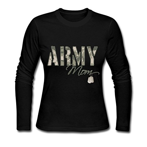 Army Mom Womens T-shirt (Spreadshirt Army Mom Camo With Dog Tags Women's Long Sleeve Jersey T-Shirt, L, Black)