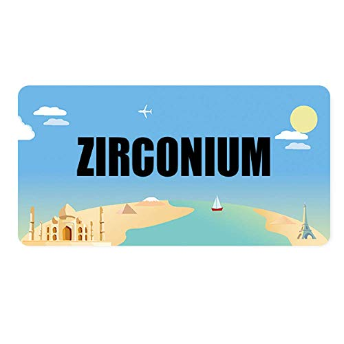 (DIYthinker Zirconium Element Name Chemistry License Plate Tag Metal Car Auto Decoration)