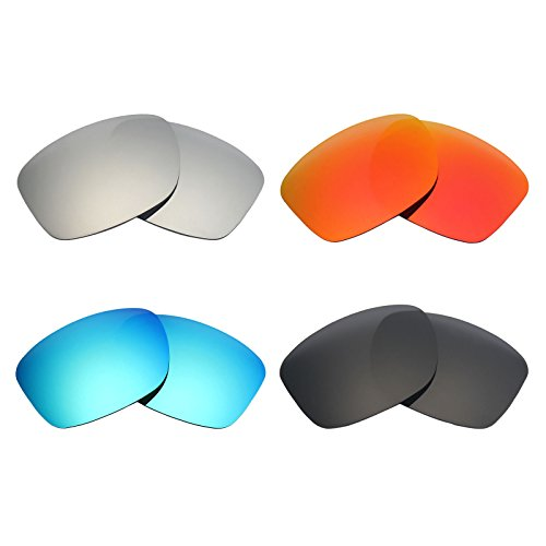 Mryok 4 Pair Polarized Replacement Lenses for Oakley Jupiter Squared Sunglass - Stealth Black/Fire Red/Ice Blue/Silver - Squared Polarized Jupiter