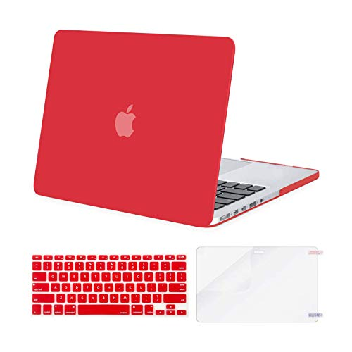 MOSISO Case Only Compatible with Older Version MacBook Pro Retina 13 inch (Models: A1502 & A1425) (Release 2015 - end 2012), Plastic Hard Shell Case & Keyboard Cover & Screen Protector, Red