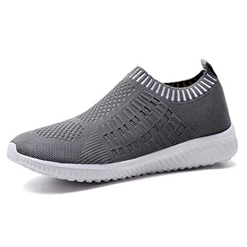 - KONHILL Women's Lightweight Casual Walking Athletic Shoes Breathable Mesh Running Slip-on Sneakers, Drak Grey, 41
