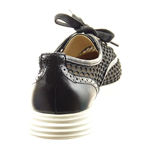 Sopily - Chaussure Mode Baskets Cheville femmes résille perforée Talon bloc 2 CM - Noir