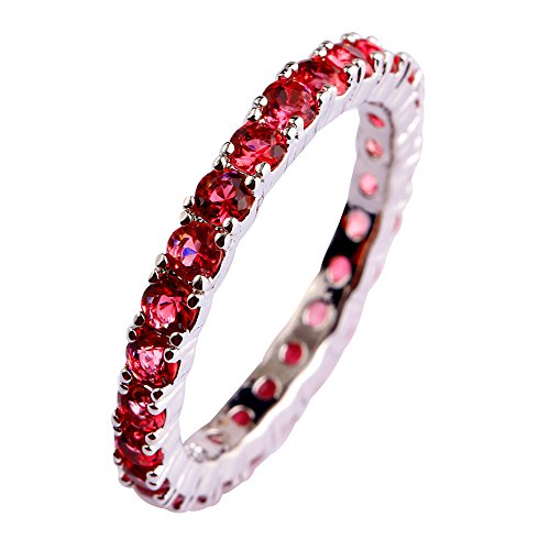 Psiroy 925 Sterling Silver Created Ruby Spinel Filled Eternity Stacking Ring Band Size 8 ()