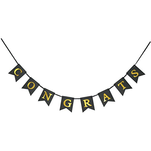 CONGRATS Banner Swallowtail - Gold Letters & Black Background - Classy Luxurious Decorations for Party Celebration (Congrats Banner)