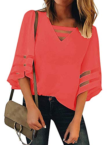 Minclouse Women's V Neck 3/4 Bell Sleeve Blouses Casual Mesh Patchwork Tops Strappy Loose Shirts Peach ()
