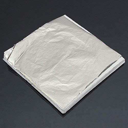 RFElettronica 100 Leaves Fake Silver Leaf Sheets for Gilding Decoration Art Work Craft 14 x 14cm RF Elettronica