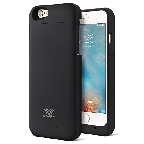 iPhone 6S Battery Case [Apple MFi Certified] SAVFY 3200mAh Rechargeable Extended Charging Battery Case for iPhone 6 / iPhone 6s 4.7 inch Slim Portable Charger Backup Power Bank, Black