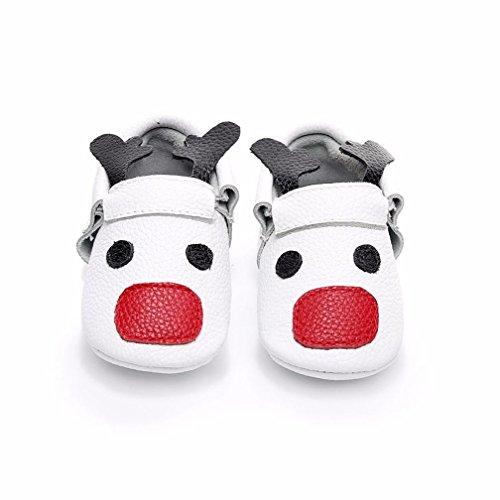 SYY 0-2 Jahre alt Baby Kleinkind Neugeborene Mädchen Jungen Cartoon Weiche Sohle Deer Nette Schuhe Weiß