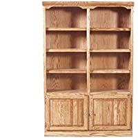 Forest Designs Traditional Bookcase with Lower Doors: 48W x 96H x 13D 96H Whitewash Oak