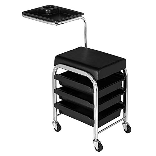 Nail Pedicure Beauty Salon Trolley Chair Makeup Skin Care Cart Equipment Storage Organizer with 3 Drawers Rolling Spa Manicure Stool Black
