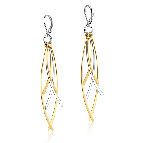 Mealguet Jewelry Two-tone Gold Plated Leaf Shape Dangle Drop Stainless Steel Earring for Women