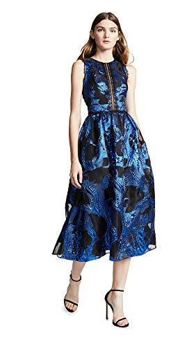 Marchesa Notte Women's Sleeveless Metallic Fils Coupe Cocktail Dress, Royal, 6
