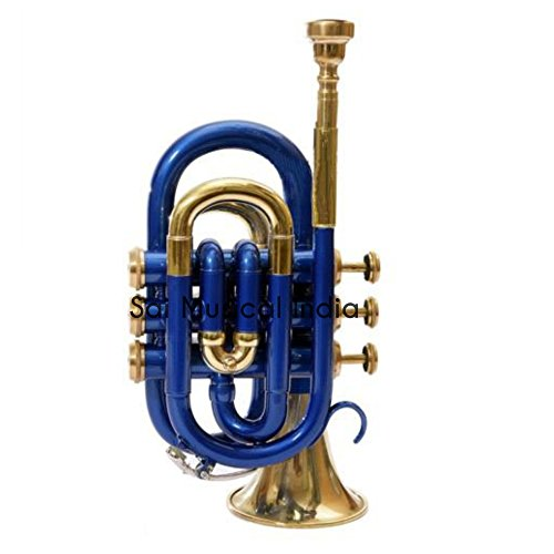 Sai Musical India PoTr-05, Pocket Trumpet, Bb, Blue by Sai Musical India (Image #2)