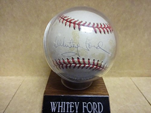 Whitey Ford Baseball Card (WHITEY FORD YANKEES TONING SIGNED A.L. BASEBALL WITH CASE AND NAMEPLATE W/COA)