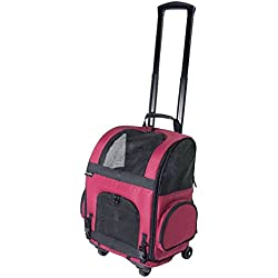 Gen7Pets Roller-Carrier Backpack with Smart-Level (Red Geometric, Large)