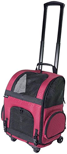 Gen7Pets Roller-Carrier Backpack with Smart-Level (Red Geometric, Large) by Gen7Pets