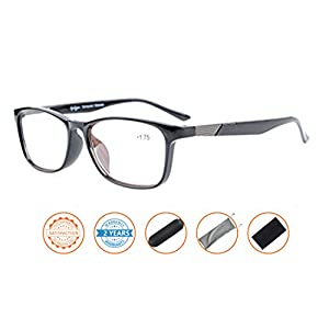 Anti Blue Rays,Reduce Eyestrain,UV Protection,Crystal Clear Vision,Reader Computer Reading Glasses (Black,Amber Tinted Lenses) without Strength