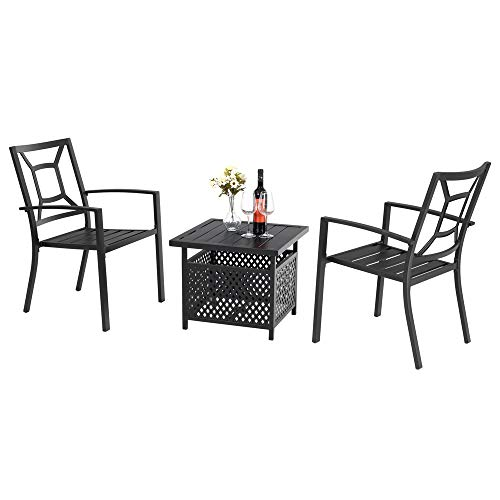 PHI VILLA Metal Patio Dining Arm Chairs and Umbrella Table Bistro Furniture Set with 1.57″ Umbrella Hole