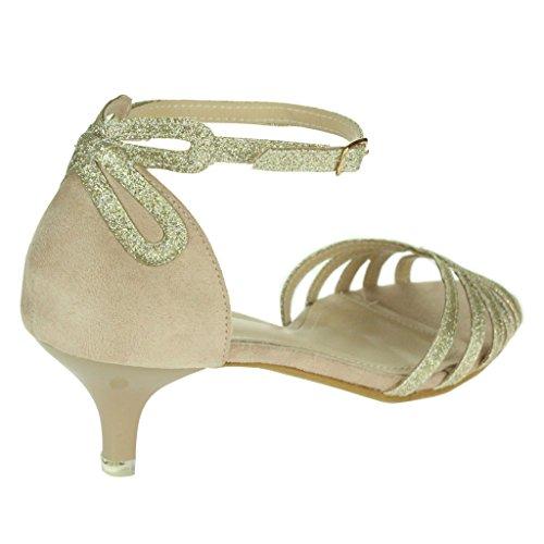Mujer Señoras Sparkly Correas Punta abierta Dos partes Tacón de gatito Noche Boda Fiesta Nupcial Sandalias Zapatos Talla Oro