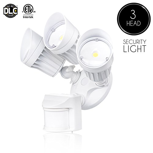 Parmida LED Security Light, White, 30W (250W Replacement), Outdoor Motion Sensor Light & Dusk to Dawn Photocell, 3 Adjustable Heads, 2250LM, 5000K (Day Light), Waterproof, ETL & DLC, 120V