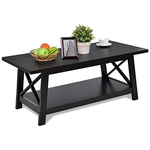 (Giantex X-Design Wooden Cocktail Side Coffee Table Shelf Rectangle w/Storage Shelf Black)
