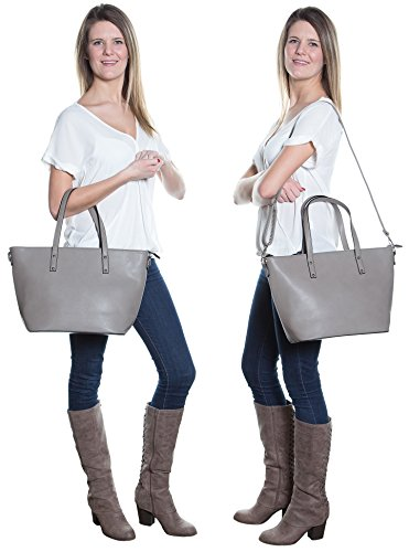 Faux Leather Tote Bag For Women - Convertible Crossbody Tote And Handbag - Top Handle Satchel Purse With Top Zipper Closure (PEWTER) by Pier 17 (Image #4)