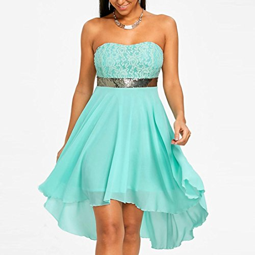 - Tube Top Dress, Balakie Women Chiffon Off Shoulder Bandeau Sequined Irregular Embroidered Stitching Evening Party Dresses (L, Mint Green)