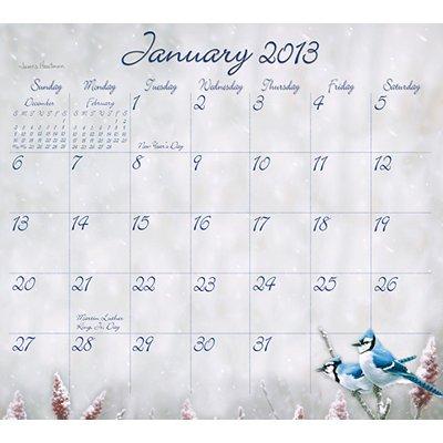 2013 Calendar Hautman Brothers Songbirds 2013 Magnetic Mount Wall Calendar