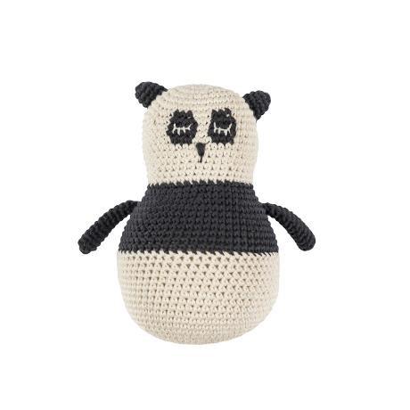 Sebra Häkel-Stehaufmännchen, Panny, Panda, schwarz / weiß Handmade 17cm 100% Baumwolle mit Glöckchen Unisex, Mädchen, Junge NEU Sebra0359 Mädchen Sebra Interior for Kids
