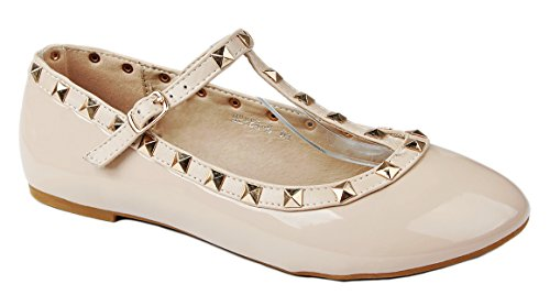 Designer Meyer06 Beige Rivet Studded Round Toe Buckle T-Strap Dress Ballet Flat Shoes-7.5 ()