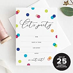 25 Let's Party Invitations with envelopes for Birthday Party, Engagement Party, Bridal Shower, Baby Shower, Anniversary, Graduation or Any Special Event — Fill in invites from Bliss Paper Boutique