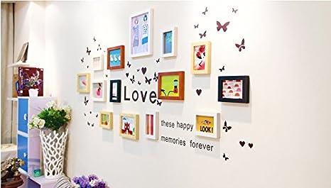 Decoración para el hogar 14 mezclador Color madera Pcs Creativa muro montado portaretrato Set P00015: Amazon.es: Hogar