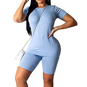 Womens 2PCS Yoga Gym Short Sleeve T Shirt Tops Biker Workout High Waist Shorts Tracksuit Sports Outfit