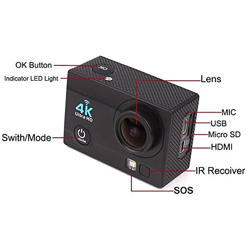 "Action Camera,Waterproof 4K Ultra HD Wifi Outdoor Sports Cam,2.0"" 1080P 16MP Screen 170 Super Wide Angle Lens with 2.4G Wireless RF Remote Control,Diving Underwater[Waterproof Resistant]"